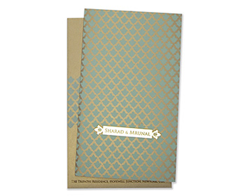 Multifaith Indian wedding card in light brown and powder blue color -