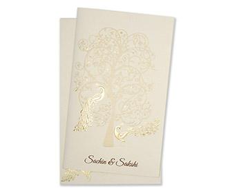 Multifaith indian wedding card with a tree & peacocks