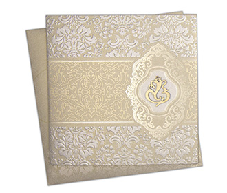 Multifaith Indian wedding card with embossed golden motifs