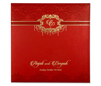 Multifaith indian wedding card with embossed motifs