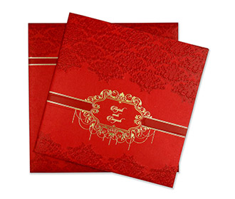 Multifaith indian wedding card with embossed motifs -