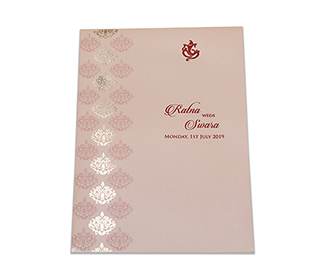 Multifaith Indian wedding invitation in blush colour