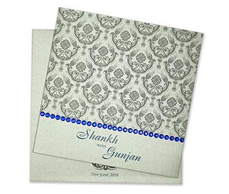 Indian wedding invitations ottawa vanier indian wedding multifaith indian wedding invitation in silver with decorative beads stopboris Image collections