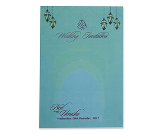 Multifaith Indian wedding invite in shades of teal and green