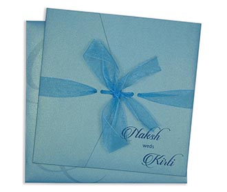Multifaith indian wedding invite in turquoise blue wth gatefold