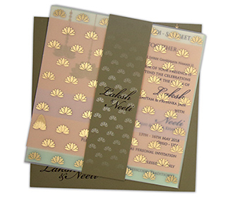 Multifaith lotus themed wedding invite in dusty olive colour