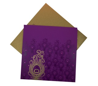 Multifaith Peacock Feather Wedding Card Design in Purple Color