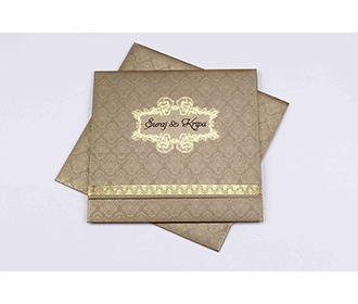 Multifaith wedding card in light brown with golden sheen -