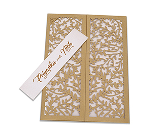 Multifaith wedding card with intricate laser cut leaf design in golden