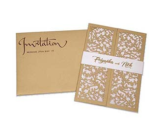 Multifaith wedding card with intricate laser cut leaf design in golden -