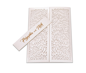 Multifaith wedding card with intricate laser cut leaf design in white -