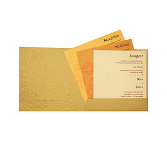 Multifaith wedding invitation card in golden with embossed motifs