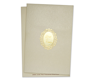 Multifaith wedding invitation in cream with embossed motifs