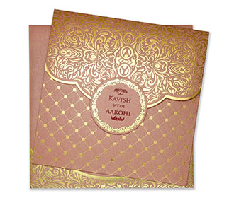 Multifaith wedding invite in elegant pink and golden colour -