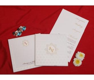 Multifaith white colored wedding invite