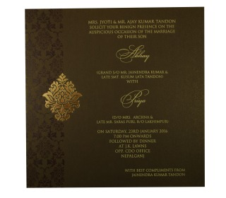 Wedding Card In Brown Golden With Gate Fold Design