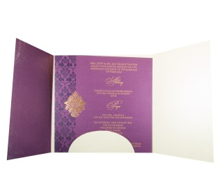 Muslim Wedding Invitation in Purple with Gate Fold Design