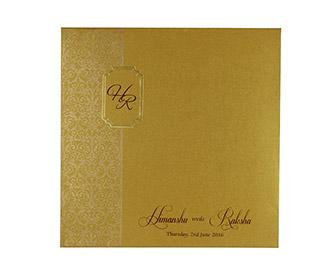 Muslim wedding invitation in shimmering golden