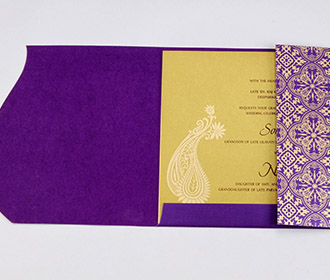 Muslim wedding invite in purple with golden paisley