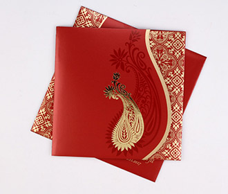 Muslim wedding invite in red with golden paisley