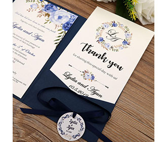 Navy blue color wedding invitation in floral theme -