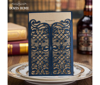 Navy Blue Elegant Wedding Invitation With Laser Cut Flowers -