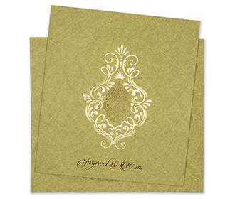 Olive green multifaith wedding card with marble design