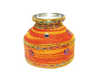 Orange & yellow mangal kalash