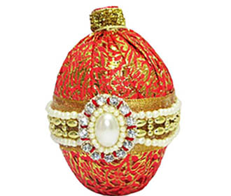 Orange broacde with Broach Decorated Coconut -