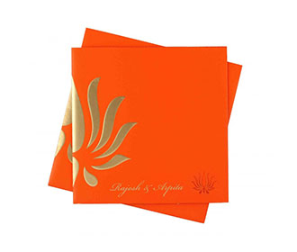 Orange Wedding Invitation with Lotus Design & Colored Inserts