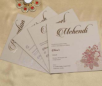Paisley Design Indian Wedding Card in Brown and Magenta