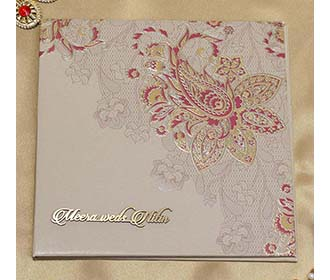 Paisley Design Indian Wedding Card in Brown and Magenta -