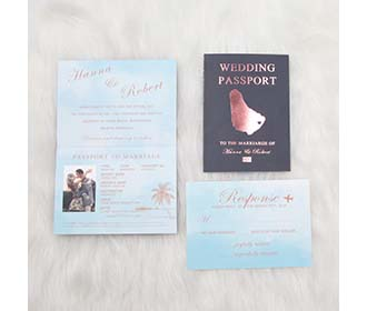 Passport style destination wedding invite in metallic color foil stamp -