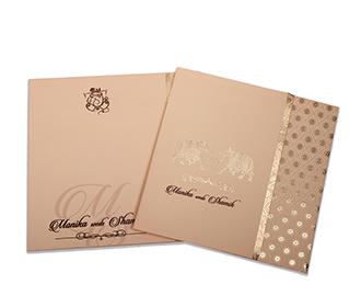 Peach & golden color wedding card with royal elephants -
