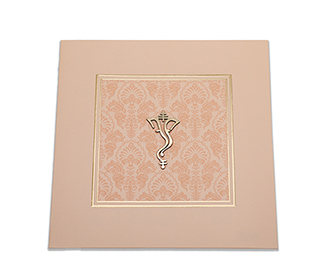 Peach color Ganesha themed Hindu wedding invitation