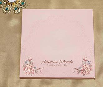 Peach Colour Floral Indian Wedding Invitation Card