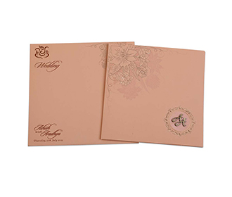 Peach colour Indian wedding invite with embossed flowers -