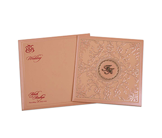 Peach colour wedding card with embossed flowers in self -
