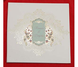 Peacock and Paisley theme Indian Wedding Invitation Card -