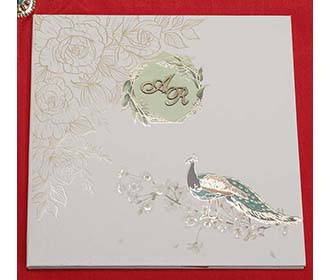 Peacock Design Indian Wedding Card in Ivory Colour -