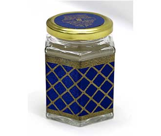 Peacock theme royal blue wedding boxed invitation with sweet jars