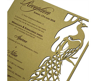 Peacock themed laser cut wedding Invitation in cardboard