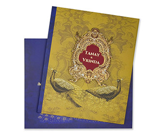 Peacock Themed Royal Indian Wedding Card In Blue