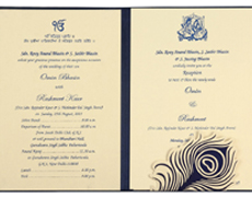 Peacock Wedding Invitation in Navy Blue & Lemon Golden Colour