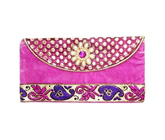 Pink & purple designer hand clutch -