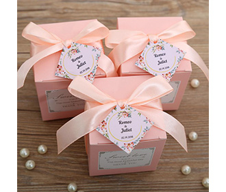 Pink color square wedding favor and gift boxes -