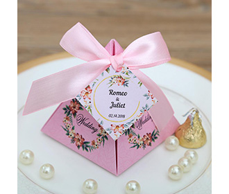 Pink Floral Pyramid Wedding Favor and Gift Boxes