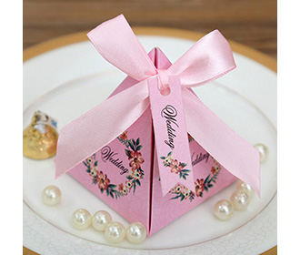 Pink Floral Pyramid Wedding Favor and Gift Boxes -