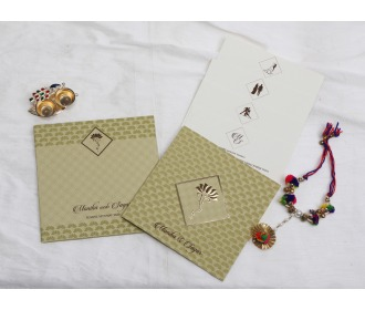 Pista colored Ganesha wedding invite