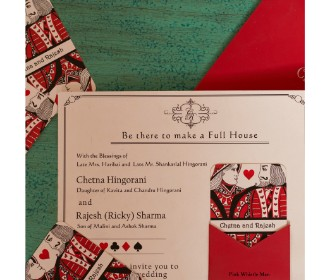 Trendy Poker themed Wedding Invite -